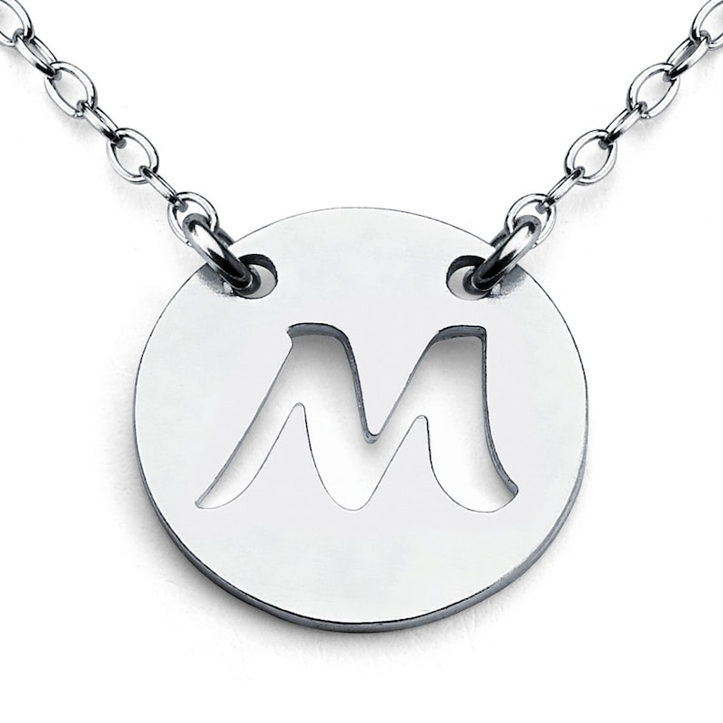 Openwork Initial Letter M Coin Charm Pendant Jump Ring Necklace #925 Sterling Silver #Azaggi N0427S/_M