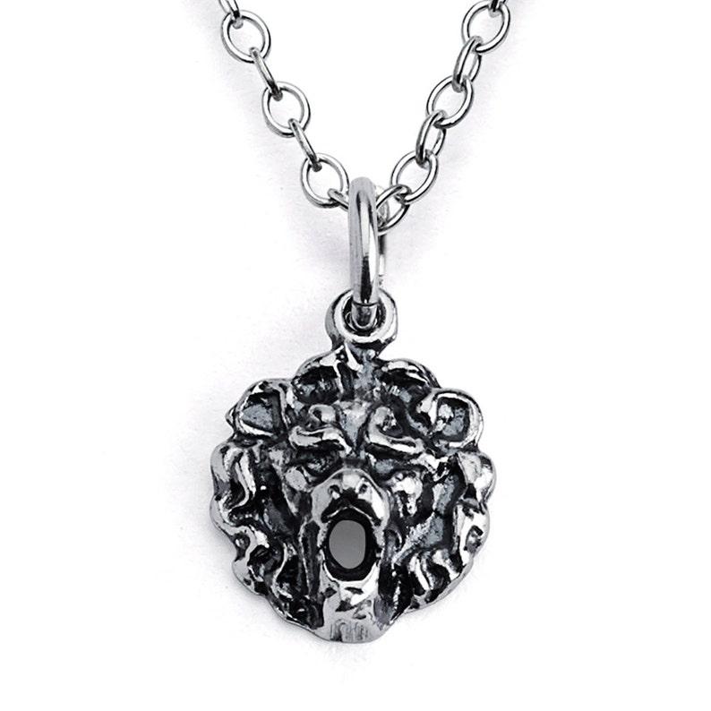 Roaring Lion King Head Leo Zodiac Sign Pendant Necklace Sterling Silver