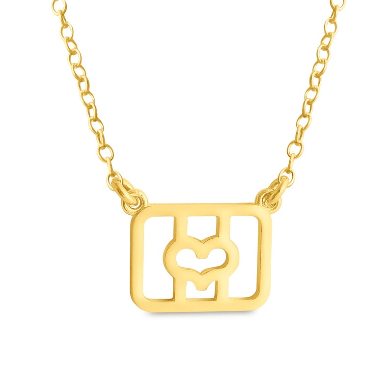 Initial Letter O with Heart Charm Pendant Jump Ring Necklace #14K Gold Plated over 925 Sterling Silver #Azaggi N0835G/_O/_SW