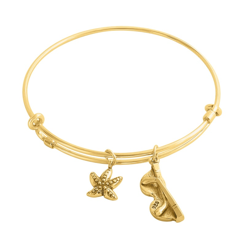 Summer Mood Charms Adjustable Wire Bangle #14K Gold Plated over 925 Sterling Silver #Azaggi B0818G