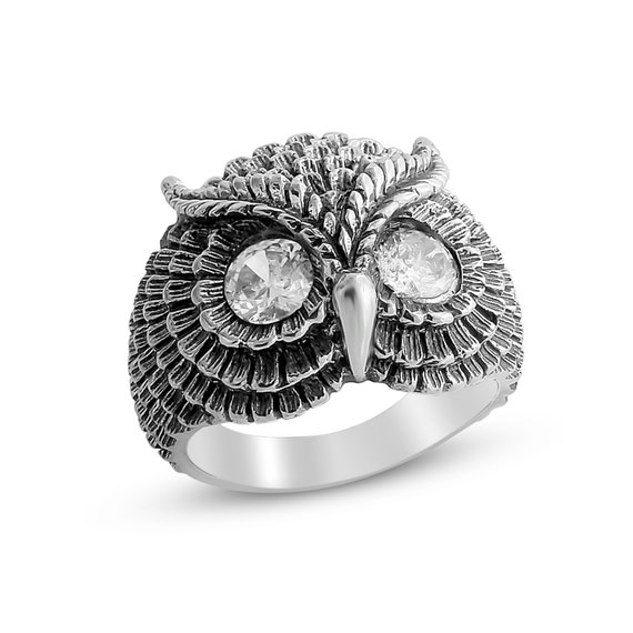 Bohemian Owl with Clear Cubic Zirconia Stone Eyes Night Bird Nocturnal Animal Symbol of Wisdom Ring #925 Sterling Silver #Azaggi R0199S