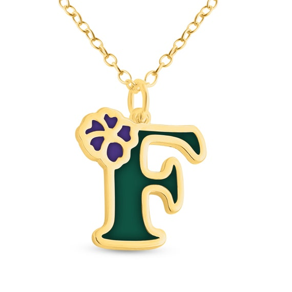 Azaggi Sterling Silver or 14K Gold Plated Silver Colored Initial Letter R with Flower Pendant