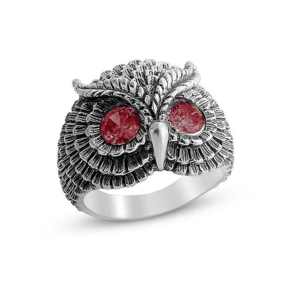Bohemian Owl with Red Ruby Stone Eyes Night Bird Nocturnal Animal Symbol of Wisdom Unisex Ring #925 Sterling Silver #Azaggi R0199S_red