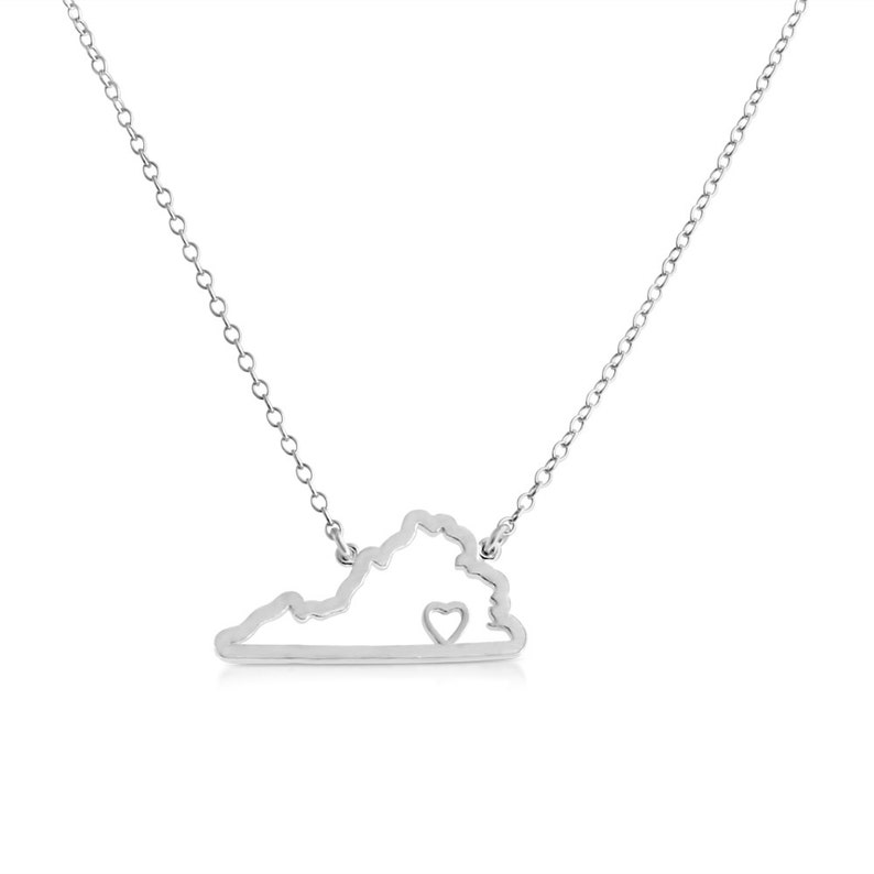 Virginia Home is Where The Heart Is VA State American Charm Pendant Jump Ring Necklace #925 Sterling Silver #Azaggi N0628S/_VA