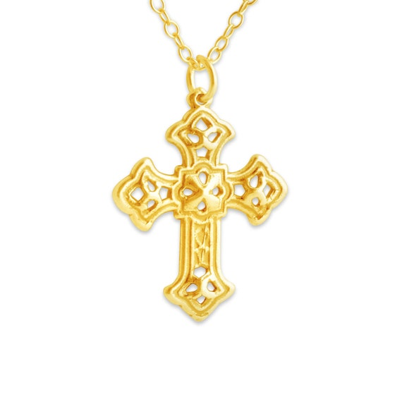 Azaggi Sterling Silver Handcrafted Religious Apostles Cross with Heart Pendant