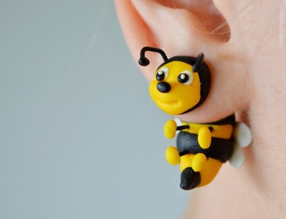 Funny Bee Plugs Cute Honeybee Gauges Insect Tunnels Unigue Etsy
