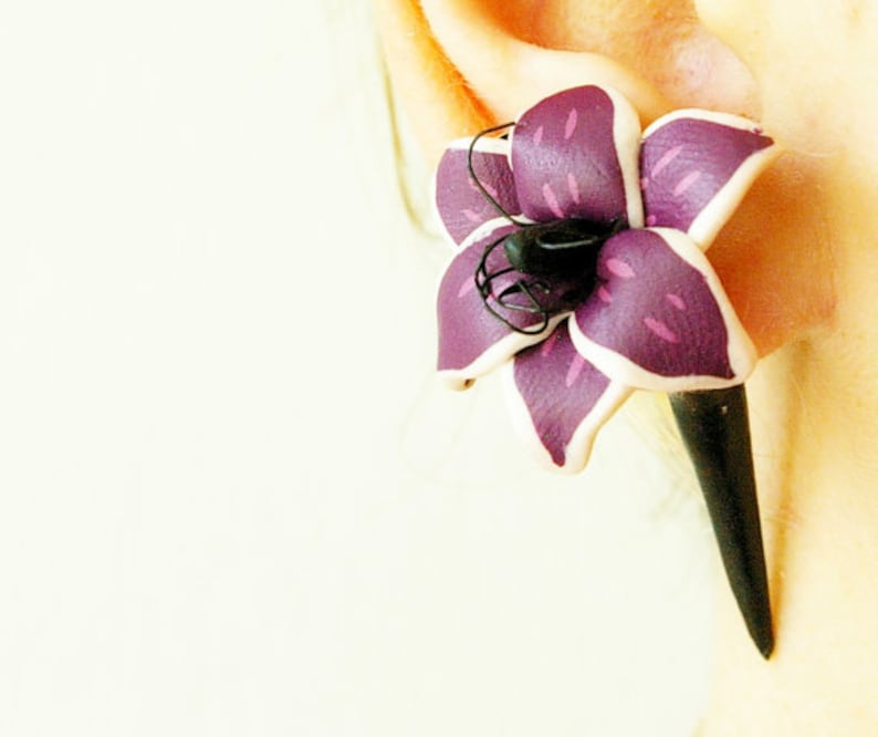 Purple lily earrings polymer clay unique gift idea expander for her Fake flower gauge fake plug lily Goth style Fake floral piercing