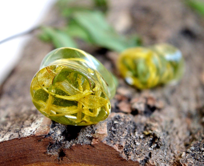 yellow flower petals and green leafs plugs and tunnels plug earrings for men for women terrarium transparent Teardrop plugs Tear Drop gauge