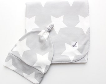 Organic Swaddling Blanket- Grey with White Stars