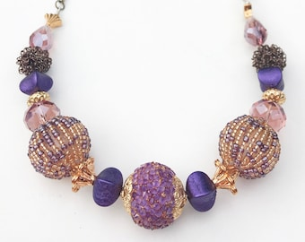 reigning queen beaded necklace