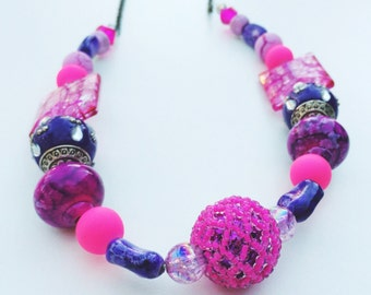 hot pink and purple glass beaded necklace