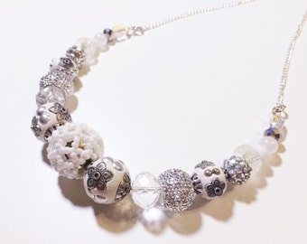 white and silver glass beaded necklace