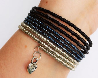 black to silver ombre beaded bracelet