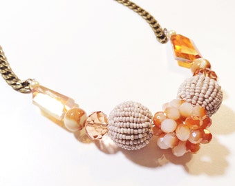 coral and tan chunky glass beaded necklace