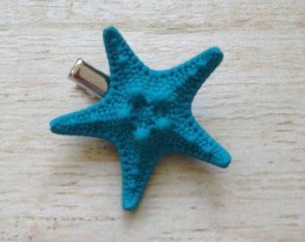 Starfish Hair Clip Mermaid Ocean Hairstyle Beach Babe Tropical Wedding Hawaii Luau Surfer Girl Halloween Costume Small Knobby Turquoise Blue