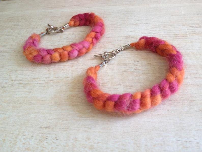 Friendship Bracelet Crochet Orange Pink Fun Fuzzy Funky Wool Yarn Music Festival Preteen Teen BFF Gift Boho Hippie Birthday Party Favor