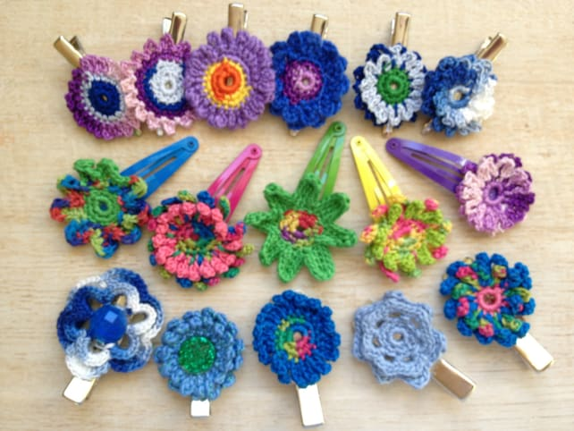 Flower Hair Clip Crochet Beach Outdoor Wedding Music Festival Hippie Peace Love Happiness Boho Girl Gift Birthday Party Favor Spring Summer
