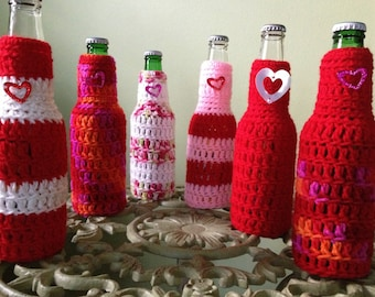 Valentine's Day Beer Bottle Cover Drink Holder Party Favor Beach Wedding Gift for Her Bachelorette Anniversary Crochet Sweater READY TO SHIP