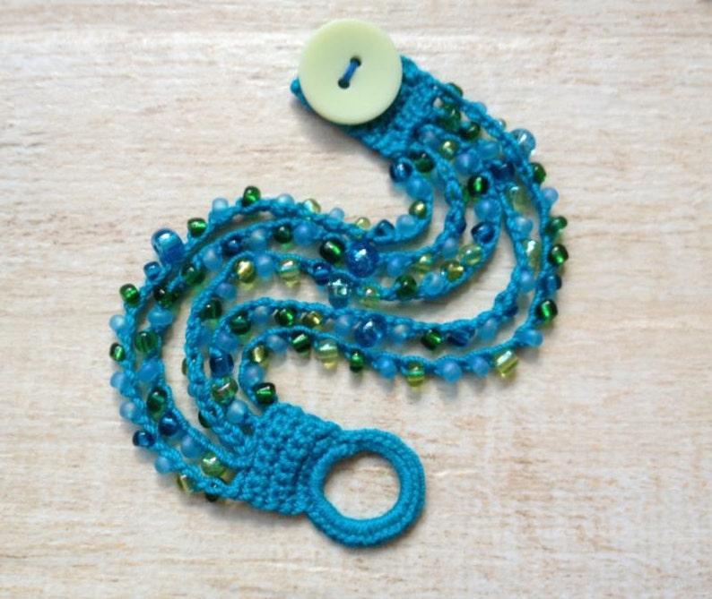 Crochet Beaded Bracelet Turquoise Blue Green Glass Beads Button Beach Ocean Jewelry Gypsy Boho Hippie Summer Music Festival Surfer Girl