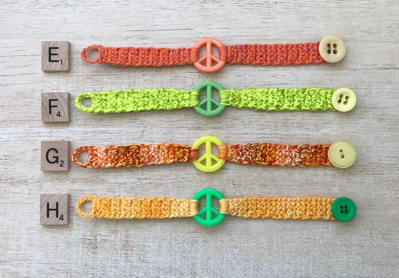 Peace Sign Bracelet Hippie Costume Preteen Teen Adult Birthday Party Favor Crochet Friendship BFF Gift Music Festival Love Happiness Retro