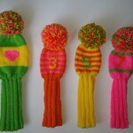 CUSTOM SET of 4 Hand Knit Retro-Vintage-Look Golf Club Head Covers with pompoms and/or tassels for Drivers, Woods, Hybrids