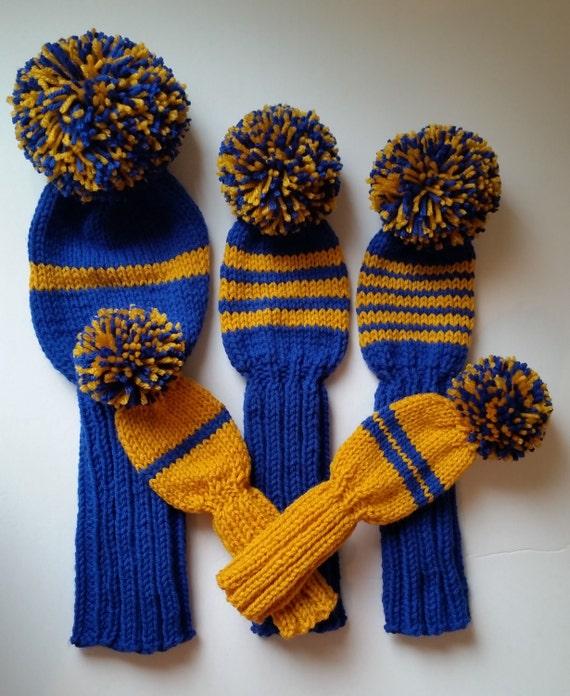 Set 5 Golf Club Head Covers Custom Knit Any Color Retro Etsy