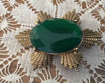 Large Vintage Green Brooch