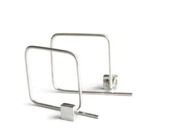 Square Earrings, Sterling Silver Ear Jackets, No Backs, Double Sided Hoop Studs, Contemporary Minimalist Jewelry, Geometric Earrings, Israel