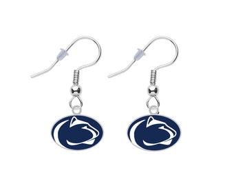 Minnesota State Silhouette Light Blue Crystal Stud Post Dangle Earrings