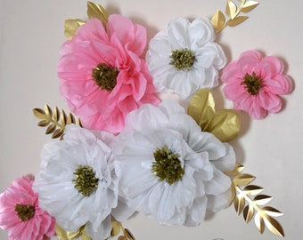 Tissue paper flowers etsy white pink and gold flowers large 14 in light pink tissue paper flowers wedding backdrop wall decorations mightylinksfo