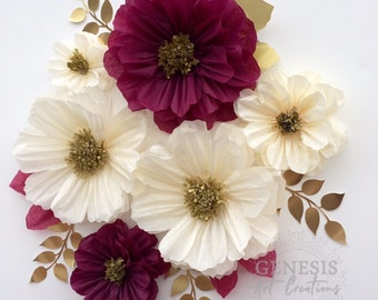 Tissue paper flowers etsy 6 wine cream tissue paper flowers wedding backdrop wall decorations fall flowers mightylinksfo