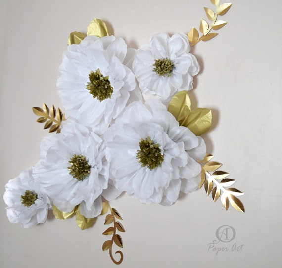 White And Gold Flowers Large 14 In Tissue Paper Flowers Etsy