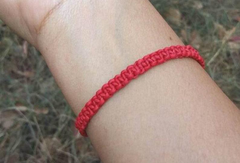 Thai Buddhist Braided Wax Cotton Wristband Bracelet Monk Blessed Friendship Handmade Red