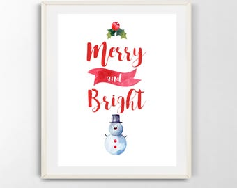 Merry and Bright printable wall art, christmas, snowman, holly, winter, digital download (8x10)