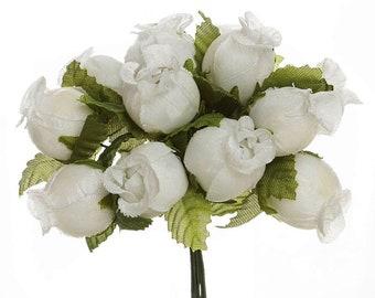 144 Miniature Poly Rose Silk Favor Flower Pick Wedding Shower Peach