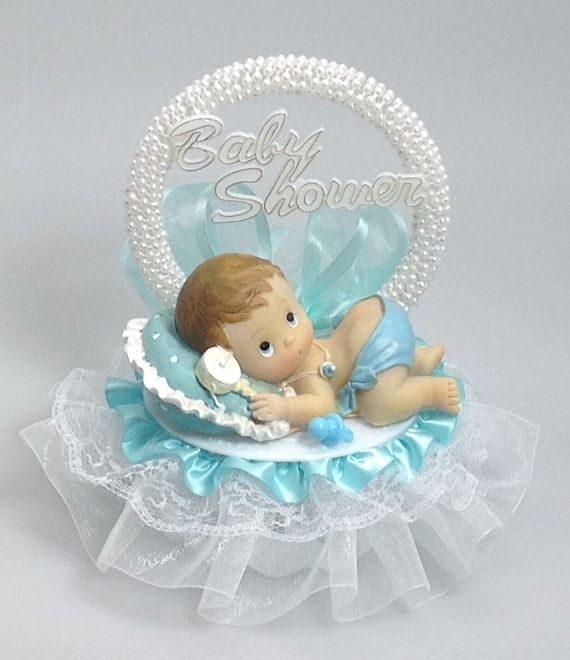 Baby Girl riding a stork  Shower Cake Top pink accent 7 inch tall