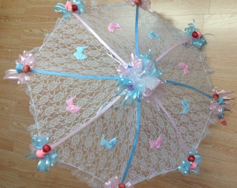 "32"" White Lace baby shower umbrella Pink and Blue ribbons and babies"