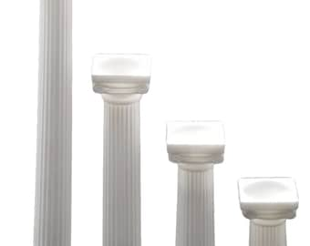 6 White plastic PILLARs small pedestals stands 3 inches - 9 inches tall 1.25 inches wide base