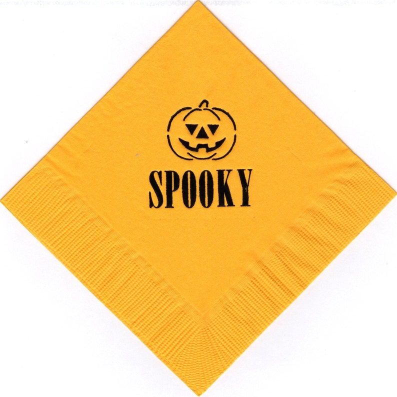 50 Jack O/' Lantern logo beverage cocktail personalized napkins halloween holiday special event