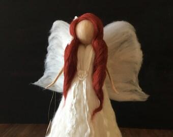 Christmas Tree topper- Heirloom- Felted Large  Angel -Guardian angel-Soft angel-Magic wool