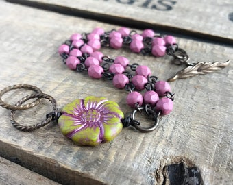 Pink & Chartreuse Green Multi Strand Bracelet. Czech Glass Bracelet. Wire Wrapped Multistrand Bracelet. Colorful, Bohemian Summer Jewelry