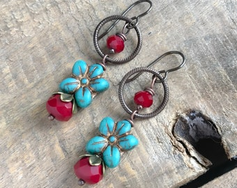 Bohemian Red & Turquoise Czech Glass Earrings. Colorful Turquoise Flower Earrings. Brass Earrings. Bohemian Style. Summer Boho Jewelry
