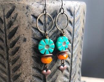 Bohemian Style Turquoise   Orange Czech Glass Earrings. Long Boho Earrings.  Colorful Earrings. Gypsy Festival Jewelry. Summer Jewelry d24a8a9a917f5
