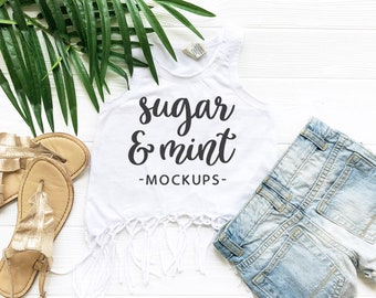 Download Free Fringe Tank Top Kavio Flat Lay, Kids Boho Fringe Tank Mockup White PSD Template