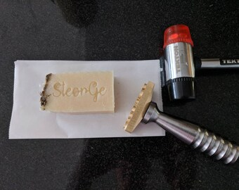 Brass stamp for leather embossing with hammering handle