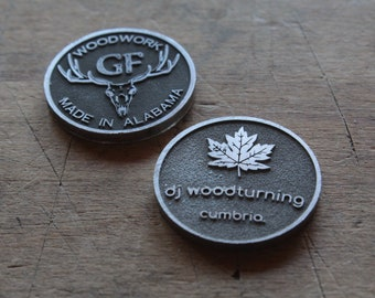 Set brass or duralumin or stainless steel labels for marking wooden products