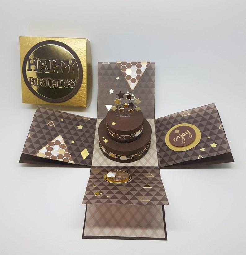 Male Birthday Cake Exploding Box Card