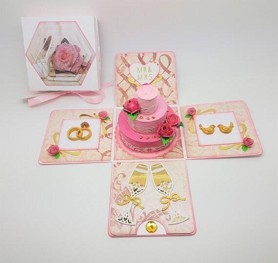 Luxus Hochzeitstorte Explosion Box Karte Rosa Gold Etsy