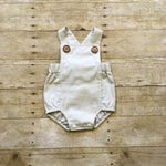 Cream Baby Boy Boho Romper, Toddler Boy Romper, Boy Bodysuit, Unisex Romper, First Birthday, New Baby