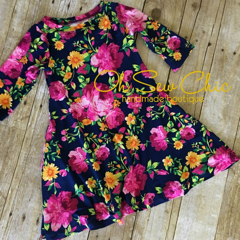 Moreland Fuchsia Floral Dress Brushed Poly Dress Toddler image 0